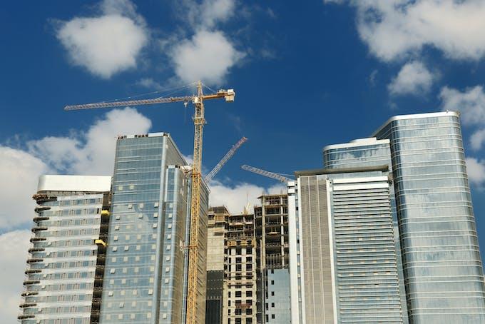 byggekran, høyhus, bygninger