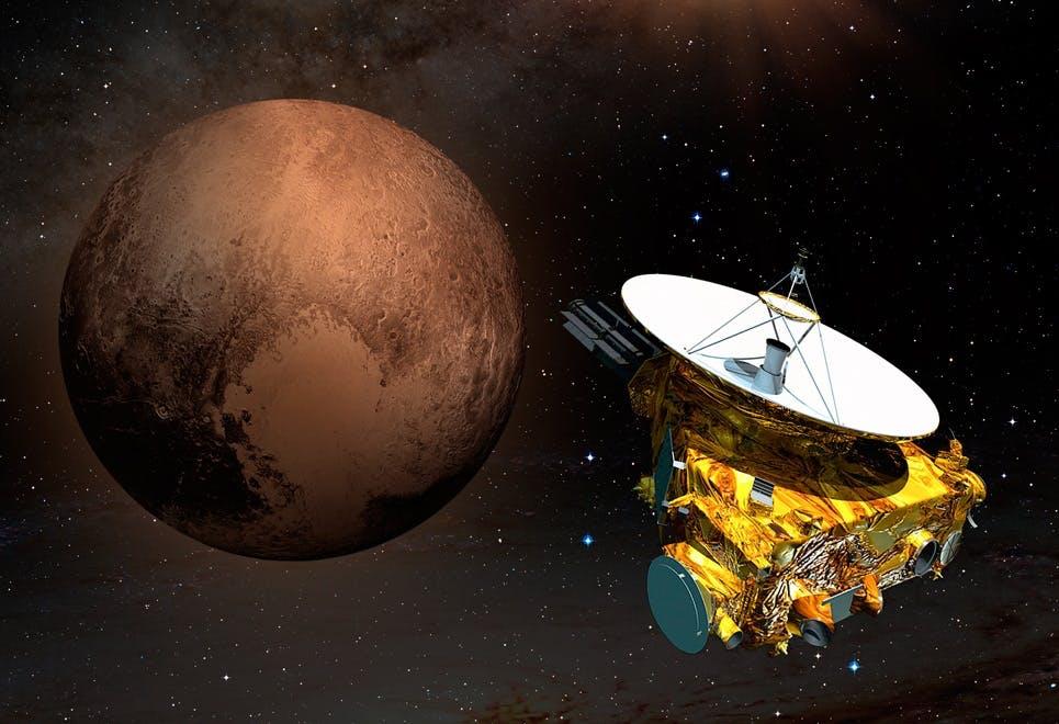 De planeet Pluto en een ruimtesonde