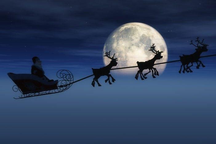 Santa Claus and reindeers
