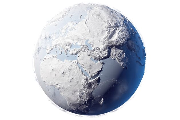 Earth covered in ice
