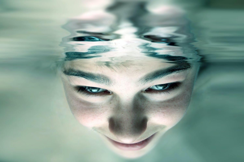 Girl emersed in water