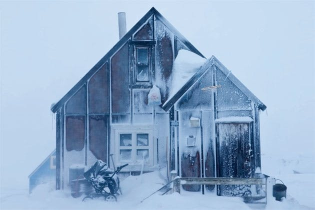 Snowy house in Greenland