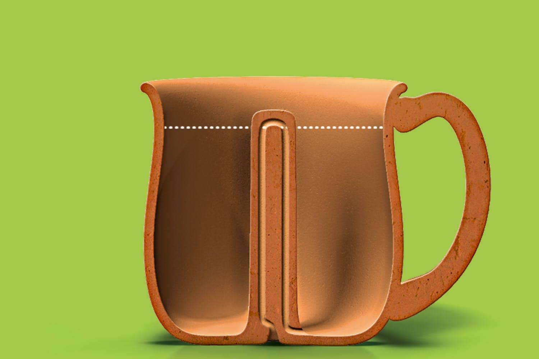 Pythagoras' cup illustration