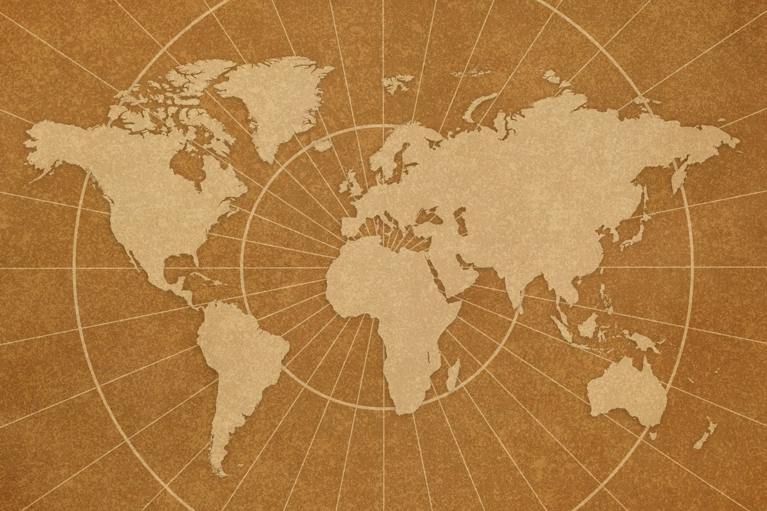 Map of the world, sepia