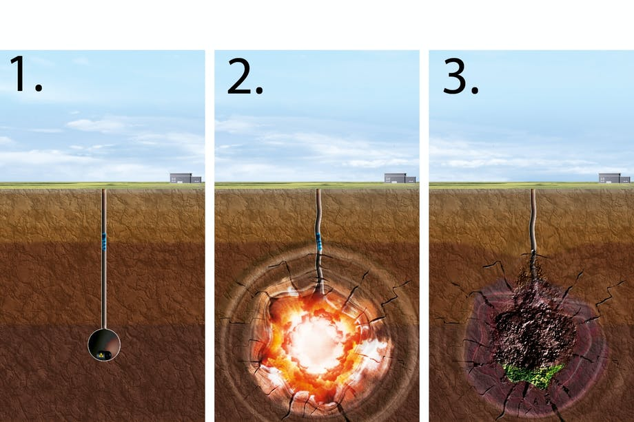 A-bomb crater illustration