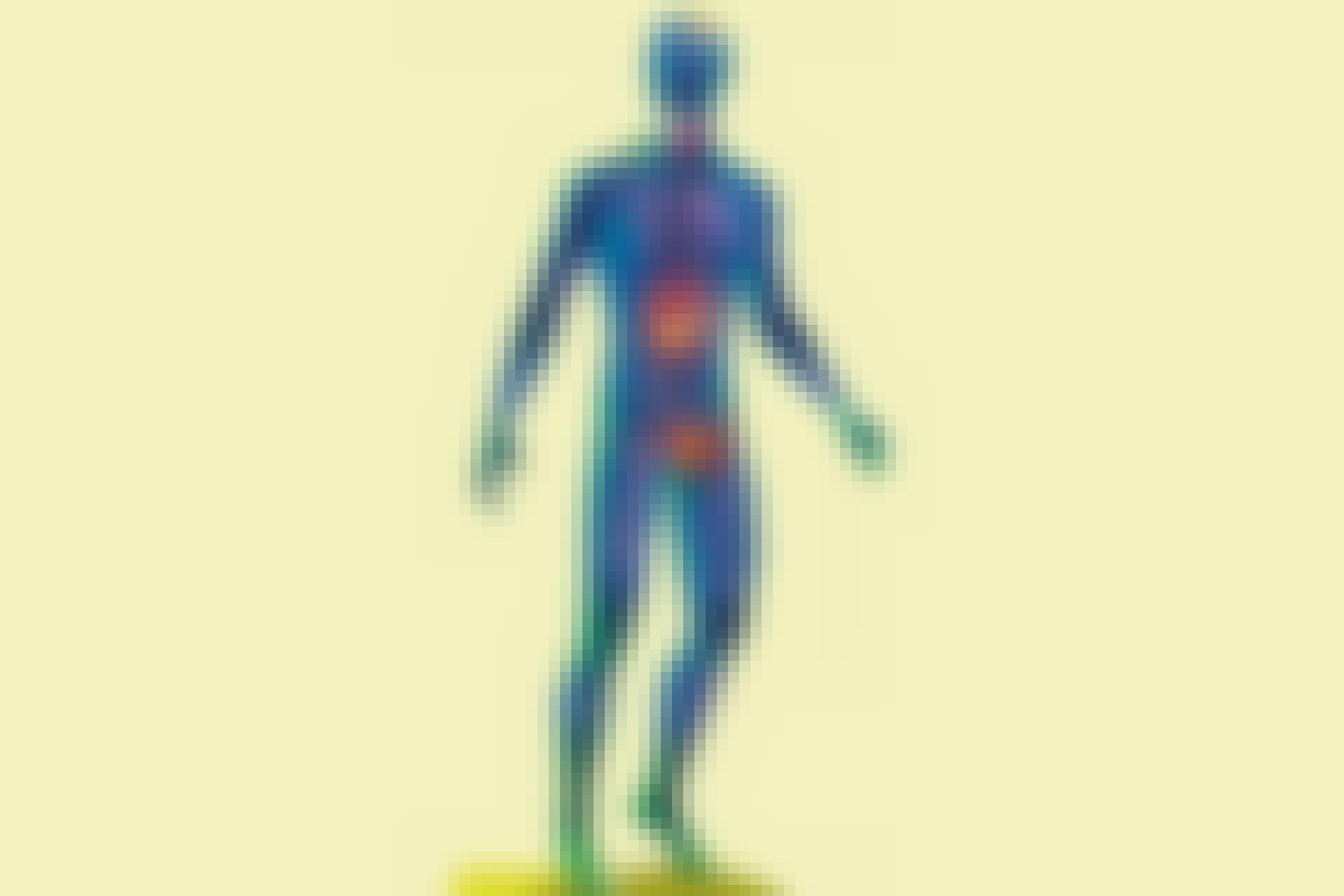 Man with highlighted organs