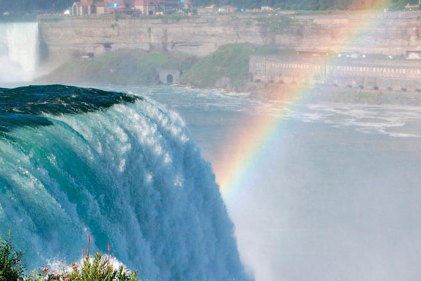 Rainbow at waterfall