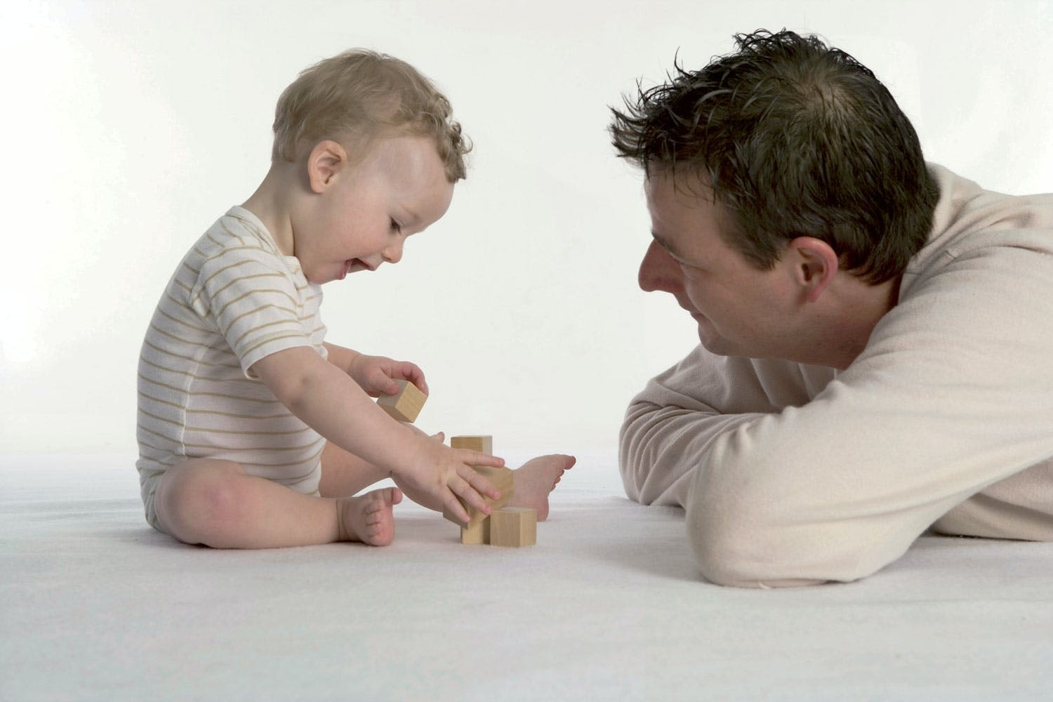 Father and child playing, Building blocks