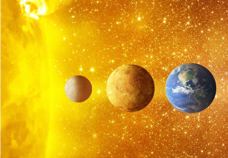 Merkurius, Venus, jorden