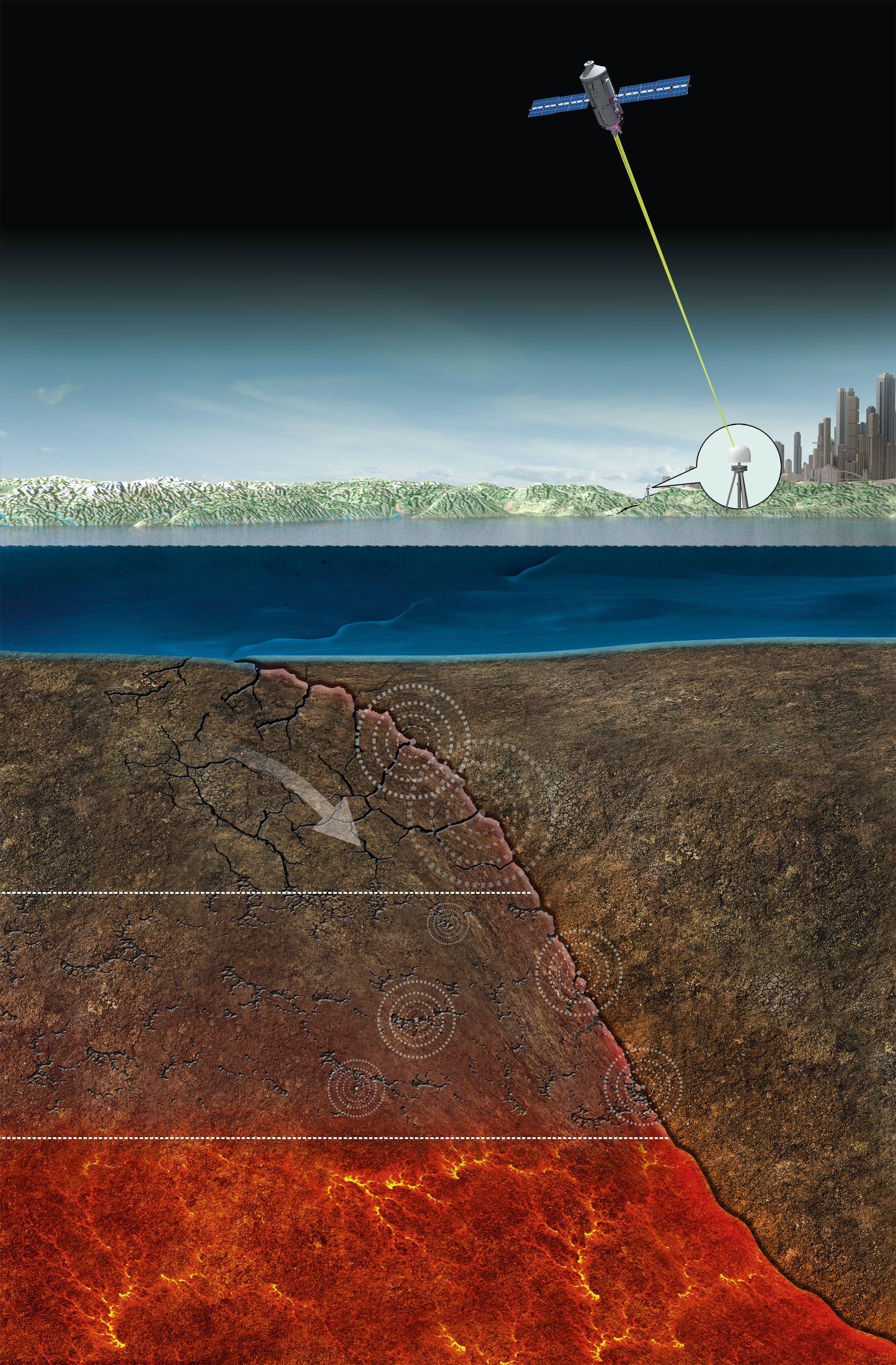 Gps-satelliet kan reuzenaardbeving aankondigen