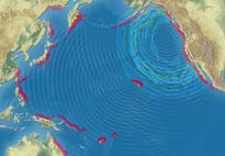 De golf gaat de hele Stille Oceaan over