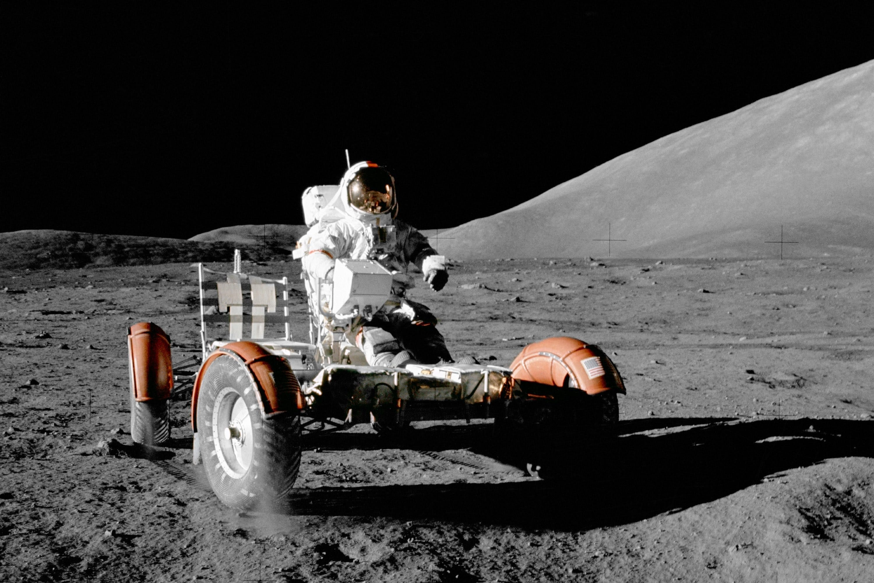 Cernan on mooncar