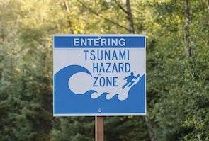 Tsunamiwaarschuwingsbord in de VS