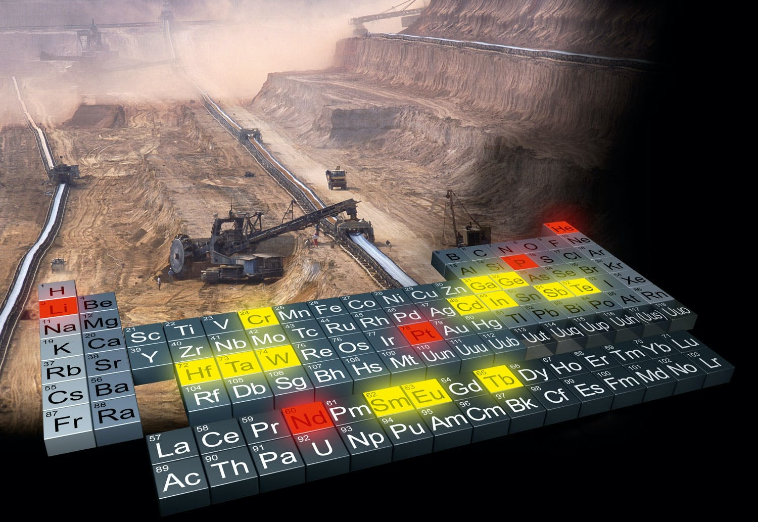 The periodic table with bulldozers