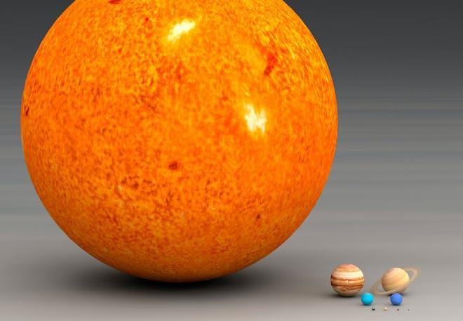 hur stor är solen jämfört med jorden