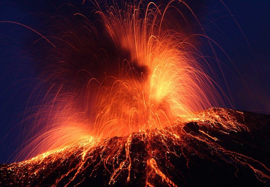 Vulkanen Stromboli i udbrud