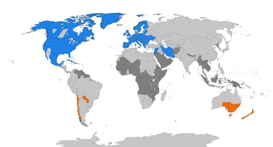 Maat, joissa on talviaika