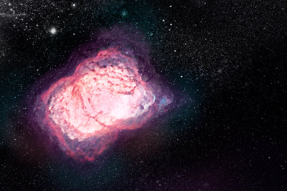 Sterrennevel met het eerste molecuul van het heelal