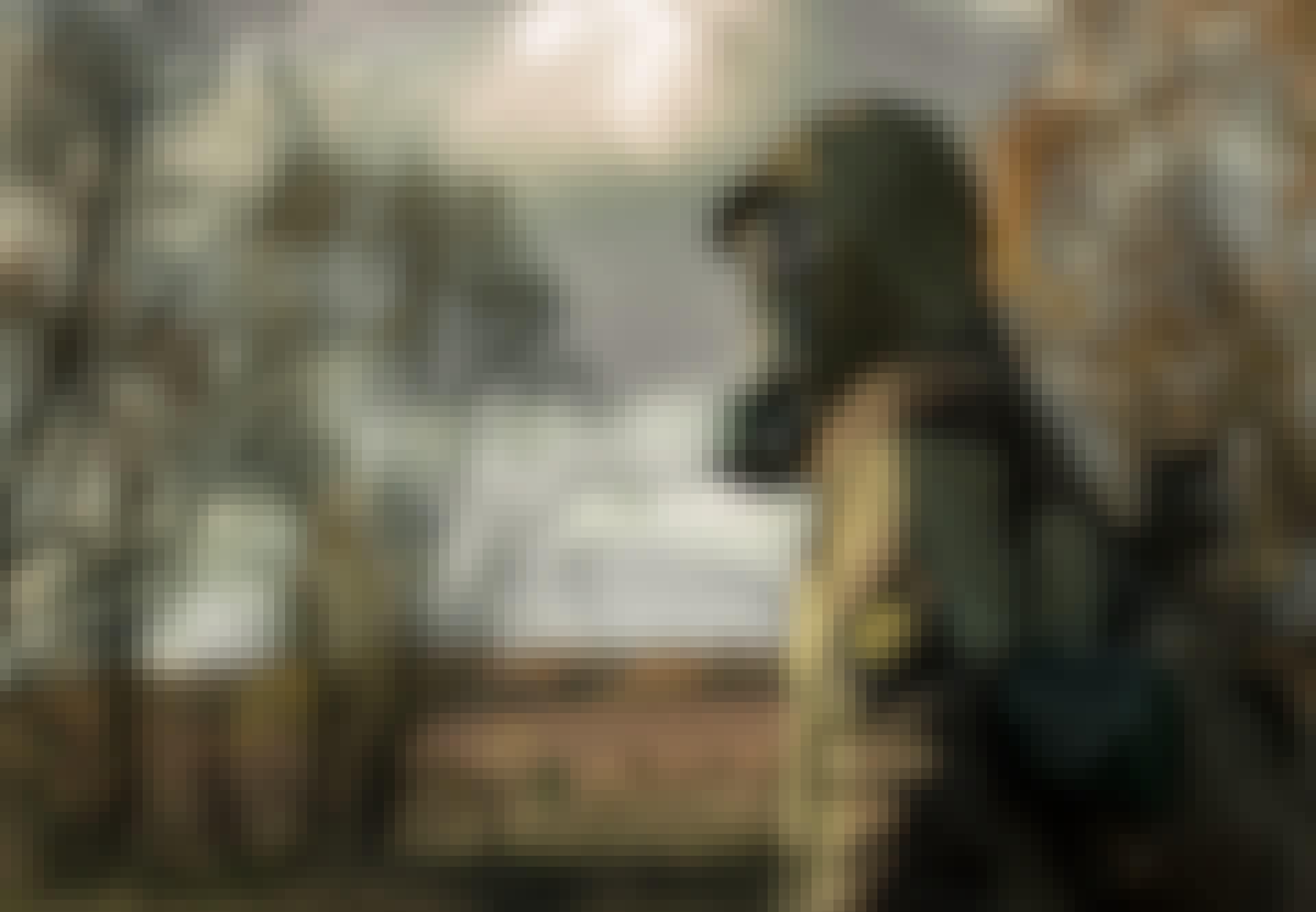 Soldat med gasmaske