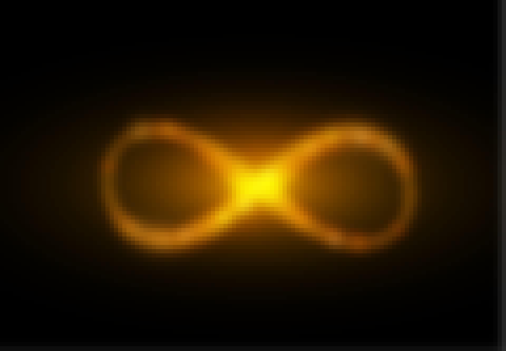 Gul evighetssymbol mot svart bakgrund